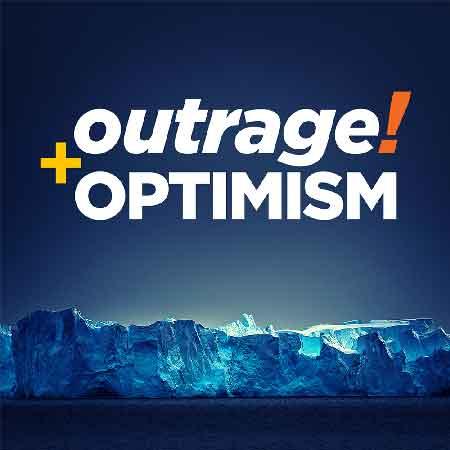 """Illustration du podcast """"Outrage and Optimism"""" avec la représentation d'une calotte glacière"""