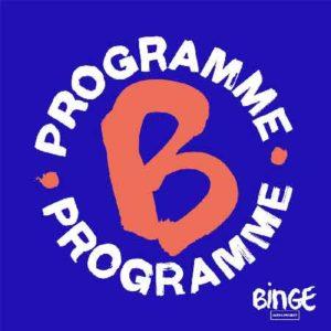 """Illustration du podcast """"Programme B"""" avec la représentation d'un cercle qui est représenté par deux demi-cercles dessinés par le mot """"programme"""" et avec la lettre """"B"""" majuscule en son centre"""