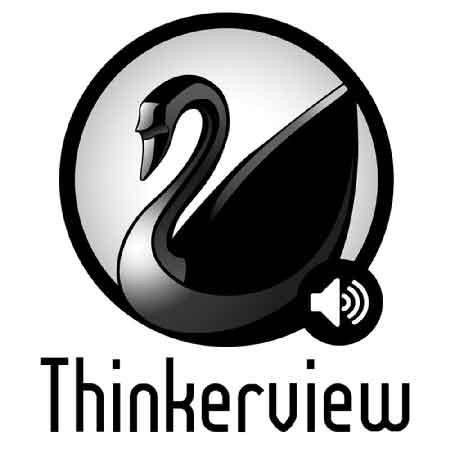 """Illustration du podcast """"thinkerview"""" avec une représentation d'un cygne noir inscrit dans un cercle"""