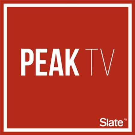 """Illustration du podcast """"Peak tv"""" qui représente le titre du podcast sur un fond rouge"""