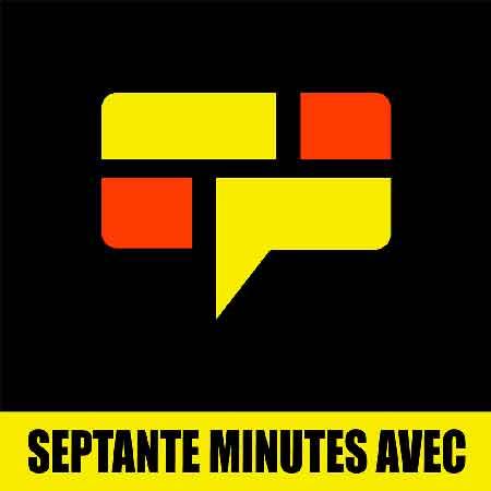 """Illustration du podcast """"Septante minute avec"""" avec une représentation d'un phylactères dessiné par des briques jaunes et rouges"""