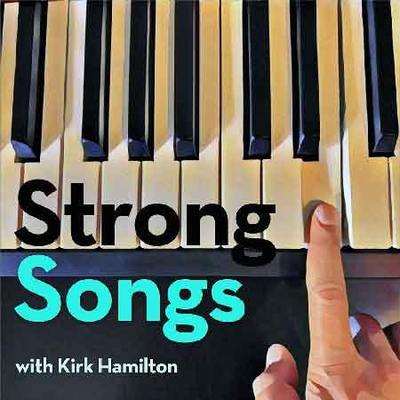 """Illustration du podcast """"Strong songs"""" avec la représentation d'un doigt appuyant sur un touche de piano"""
