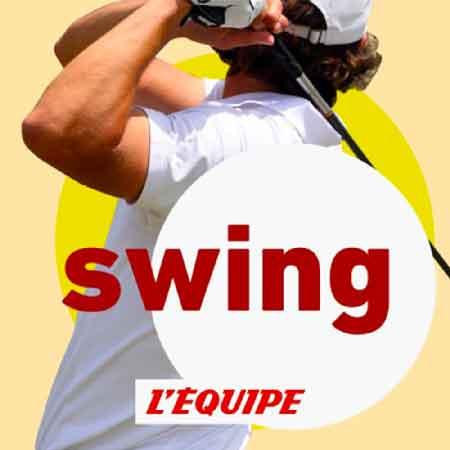 """Illustration du podcast """"swing"""" avec une représentation d'un golfeur vue de dos en train de faire un swing"""
