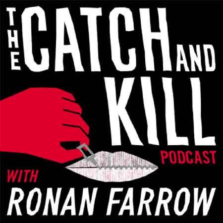 """Illustration du podcast """"the catch and kill"""" avec la représentation d'une bouche qui est en train d'être fermée avec une tirette par une main"""
