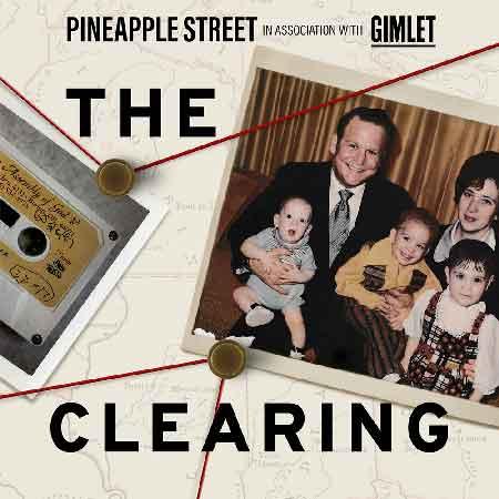 """Illustration du podcast """"The clearing"""" avec la représentation de photos reliées par des fils à la manière de la police américaine"""