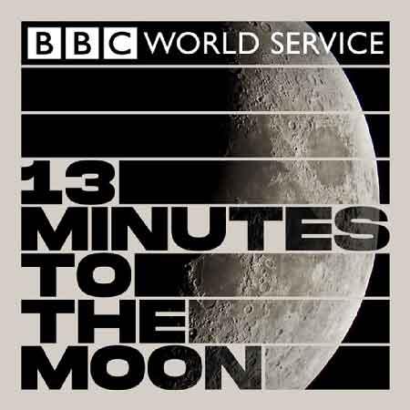 """Illustration du podcast """"13 minutes to the moon"""" avec une représentation de la lune dans l'espace."""