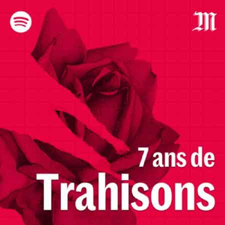 """Illustration du podcast """"7 ans de trahisons"""" avec une représentation de rose rouge."""