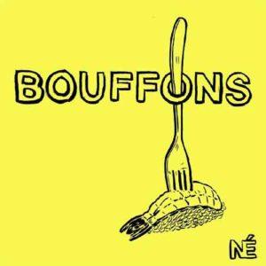 """Illustration du podcast """"bouffons"""" avec la représentation d'un sushi à la crevette, piqué d'une fourchette, sur fond jaune."""