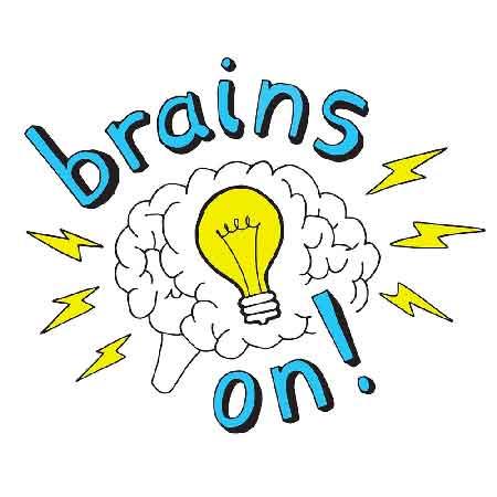 """Illustration du podcast """"brains on"""" avec la représentation d'un cerveau avec une ampoule à l'intérieur et des éclairs à l'extérieur."""
