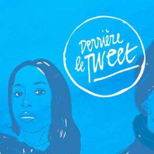 """Illustration du podcast """"derriere le tweet"""" avec la représentation de plusieurs personnes dessinées sur fond bleu."""