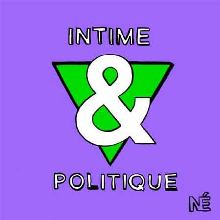 """Illustration du podcast """"intime & politique"""" avec la représentation d'un triangle vert et du symbole """"&"""", le tout sur fond mauve."""