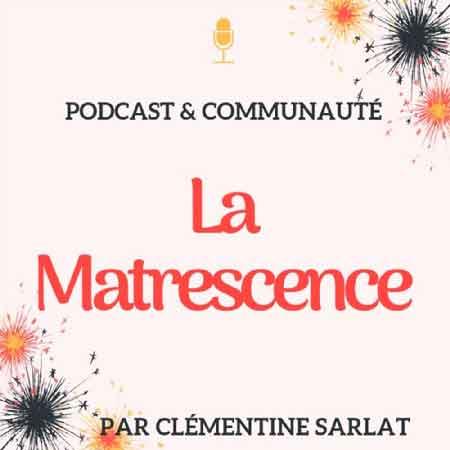 """Illustration du podcast """"la matrescence"""" avec le titre du podcast sur fond couleur chair et des dessins de feux d'artifice."""