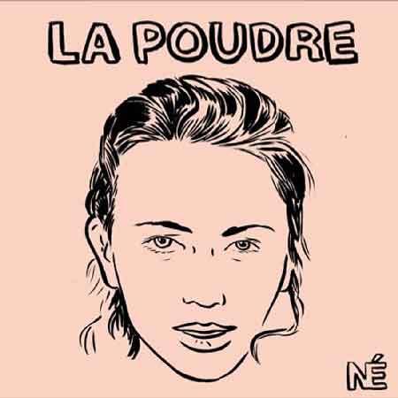 """Illustration du podcast """"la poudre"""" avec la représentation d'un visage féminin dessiné, sur fond chair."""
