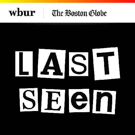 """Illustration du podcast """"last seen"""" avec le titre du podcast écrit comme un message de corbeau, les lettres sont découpées et collées sur fond noir."""