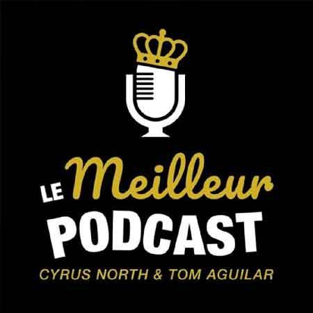 """Illustration du podcast """"le meilleur podcast"""" avec le titre du podcast en doré et blanc, sur fond noir et au-dessus, un micro portant une couronne dorée en symbole de trophée."""