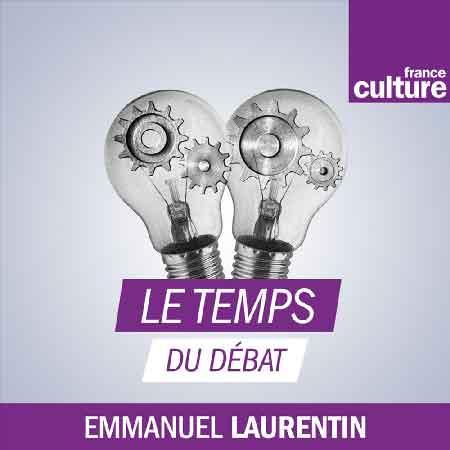 """Illustration du podcast """"le temps du débat"""" avec les représentations de deux ampoules avec un système mécanique à l'intérieur, et le logo de France Culture."""
