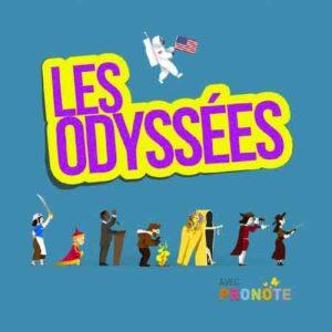 """Illustration du podcast """"les odyssees"""" avec le titre du podcast en jaune et mauve, sur fond bleu avec des dessins de personnages de l'histoire."""
