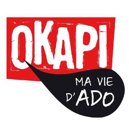 """Illustration du podcast """"ma vie d'ado"""" avec le titre du podcast dans une bulle noire, qui sort d'un encadré rouge avec le nom du magazine """"Okapi""""."""