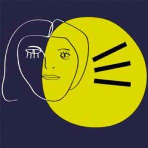 """Illustration du podcast """"magma"""" avec la représentation d'un visage féminin asymétrique dessiné façon """"Picasso"""", entrecroisé avec un cercle jaune plein ; le tout sur fond bleu."""